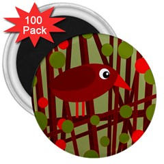 Red Cute Bird 3  Magnets (100 Pack) by Valentinaart