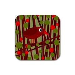 Red Cute Bird Rubber Coaster (square)  by Valentinaart