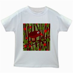 Red Cute Bird Kids White T Shirts by Valentinaart