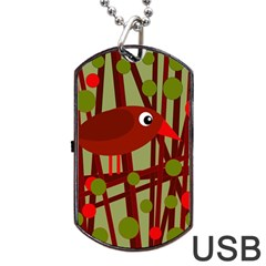 Red Cute Bird Dog Tag Usb Flash (two Sides)  by Valentinaart