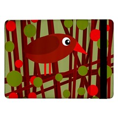 Red Cute Bird Samsung Galaxy Tab Pro 12 2  Flip Case by Valentinaart