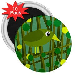 Cute Green Bird 3  Magnets (10 Pack)  by Valentinaart