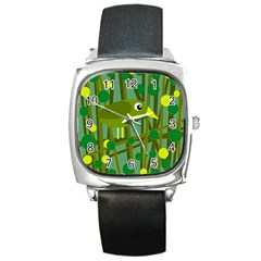 Cute Green Bird Square Metal Watch by Valentinaart