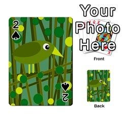 Cute Green Bird Playing Cards 54 Designs  by Valentinaart