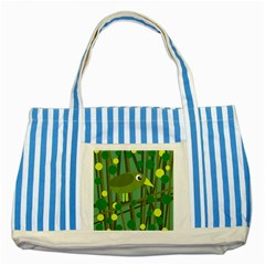 Cute Green Bird Striped Blue Tote Bag by Valentinaart