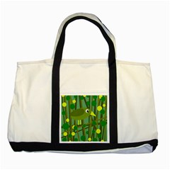Cute Green Bird Two Tone Tote Bag by Valentinaart