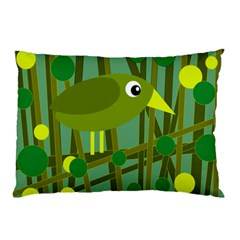 Cute Green Bird Pillow Case by Valentinaart