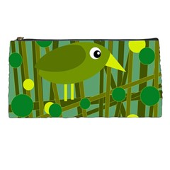Cute Green Bird Pencil Cases by Valentinaart