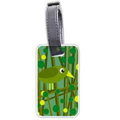 Cute Green Bird Luggage Tags (two Sides) by Valentinaart