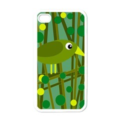 Cute Green Bird Apple Iphone 4 Case (white) by Valentinaart