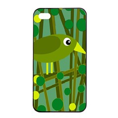 Cute Green Bird Apple Iphone 4/4s Seamless Case (black) by Valentinaart