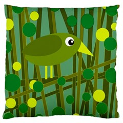 Cute Green Bird Large Cushion Case (two Sides) by Valentinaart