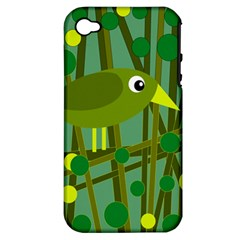 Cute Green Bird Apple Iphone 4/4s Hardshell Case (pc+silicone) by Valentinaart
