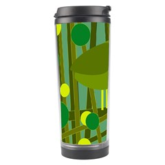 Cute Green Bird Travel Tumbler by Valentinaart