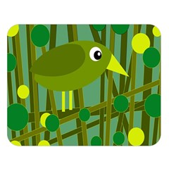 Cute Green Bird Double Sided Flano Blanket (large)  by Valentinaart