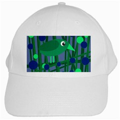 Green And Blue Bird White Cap by Valentinaart