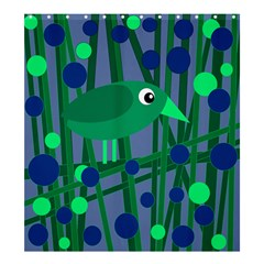 Green And Blue Bird Shower Curtain 66  X 72  (large)  by Valentinaart