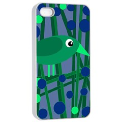 Green And Blue Bird Apple Iphone 4/4s Seamless Case (white) by Valentinaart