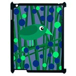 Green and blue bird Apple iPad 2 Case (Black) Front