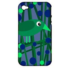 Green And Blue Bird Apple Iphone 4/4s Hardshell Case (pc+silicone) by Valentinaart