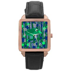Green And Blue Bird Rose Gold Leather Watch  by Valentinaart