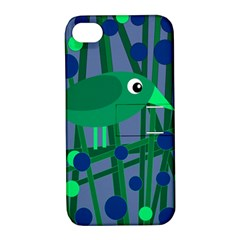 Green And Blue Bird Apple Iphone 4/4s Hardshell Case With Stand by Valentinaart