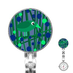 Green And Blue Bird Stainless Steel Nurses Watch by Valentinaart