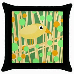 Yellow Little Bird Throw Pillow Case (black) by Valentinaart