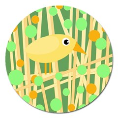 Yellow Little Bird Magnet 5  (round) by Valentinaart