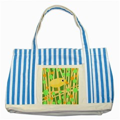 Yellow Little Bird Striped Blue Tote Bag by Valentinaart