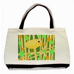 Yellow Little Bird Basic Tote Bag (two Sides) by Valentinaart