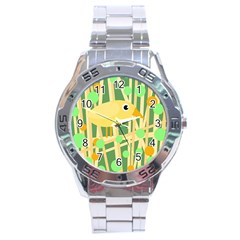 Yellow Little Bird Stainless Steel Analogue Watch by Valentinaart