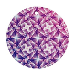 Purple Shatter Geometric Pattern Round Ornament (two Sides)  by TanyaDraws