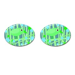 Green Bird Cufflinks (oval) by Valentinaart