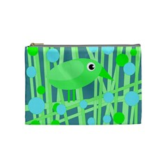 Green Bird Cosmetic Bag (medium)  by Valentinaart
