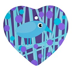Blue And Purple Bird Ornament (heart)  by Valentinaart