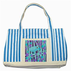 Blue And Purple Bird Striped Blue Tote Bag by Valentinaart