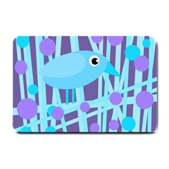 Blue And Purple Bird Small Doormat  by Valentinaart