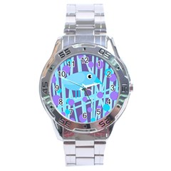 Blue And Purple Bird Stainless Steel Analogue Watch by Valentinaart