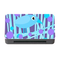 Blue And Purple Bird Memory Card Reader With Cf by Valentinaart