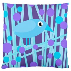 Blue And Purple Bird Large Cushion Case (one Side) by Valentinaart