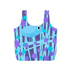 Blue And Purple Bird Full Print Recycle Bags (s)  by Valentinaart