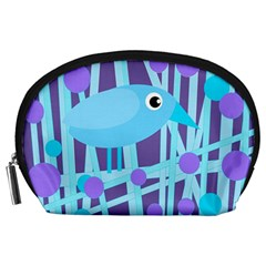 Blue And Purple Bird Accessory Pouches (large)  by Valentinaart