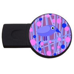 Purple And Blue Bird Usb Flash Drive Round (2 Gb)  by Valentinaart