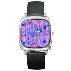 Purple And Blue Bird Square Metal Watch by Valentinaart
