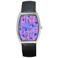 Purple And Blue Bird Barrel Style Metal Watch by Valentinaart