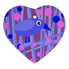 Purple And Blue Bird Heart Ornament (2 Sides) by Valentinaart