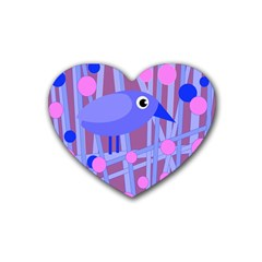 Purple And Blue Bird Rubber Coaster (heart)  by Valentinaart