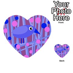 Purple And Blue Bird Multi Purpose Cards (heart)  by Valentinaart