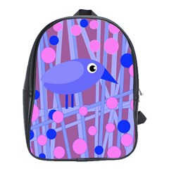 Purple And Blue Bird School Bags(large)  by Valentinaart